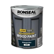 Ronseal 10 Year Weatherproof  Wood Paint Midnight Blue Satin 750ml