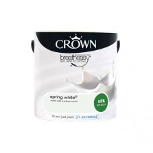 Crown Breathe Easy Emulsion Paint 2.5L Spring White (Silk)