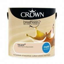 Crown Breathe Easy Emulsion Paint 2.5L Taupe (Matt)