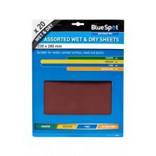 BlueSpot Wet & Dry Sandpaper Sheets (20 Piece) Assorted