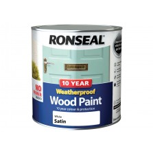 Ronseal 10 Year Weatherproof  Wood Paint Pure Brilliant White Satin 750ml