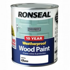 Ronseal 10 Year Weatherproof  Wood Paint White Gloss 750ml