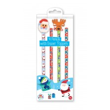Christmas Pencils with Festive Rubbers (4 Pack)