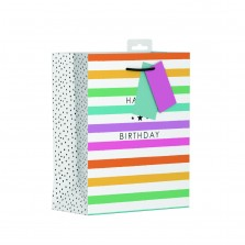 Birthday Stripes Gift Bag Medium