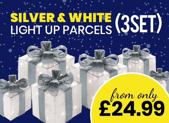 Silver & White Light up Parcels